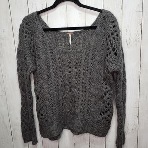 Free People Gray Open Weave Cable Knit Sweater Siz